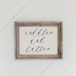 Cuddles and Lattes Barn Wood Framed Print