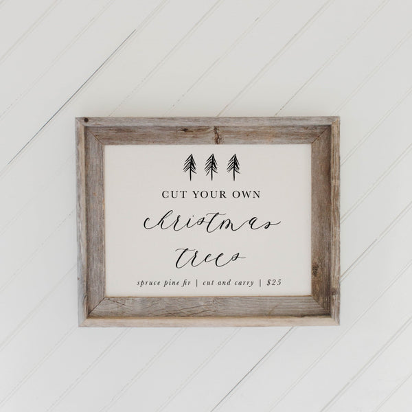 Cut Your Own Christmas Trees Barn Wood Framed Print