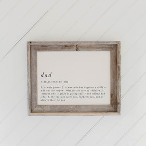 Dad Definition Barn Wood Framed Print