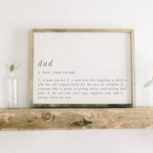 Dad Definition Framed Wood Sign
