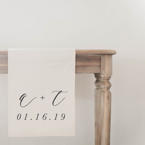 Personalized Two Initials and Date Table Runner