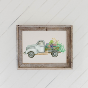 Floral Truck Watercolor Barn Wood Framed Print