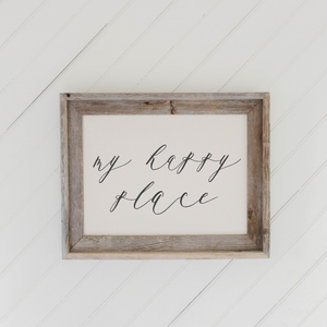My Happy Place Barn Wood Framed Print