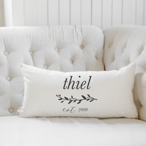 Personalized Last Name With Laurel Lumbar Pillow