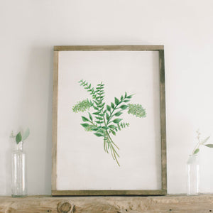 Eucalyptus Bunch Watercolor Framed Wood Sign