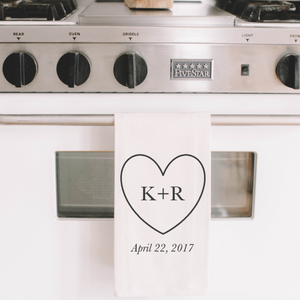 Personalized Heart Initials and Date Tea Towel