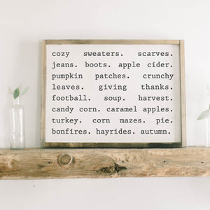 Fall Things Framed Wood Sign