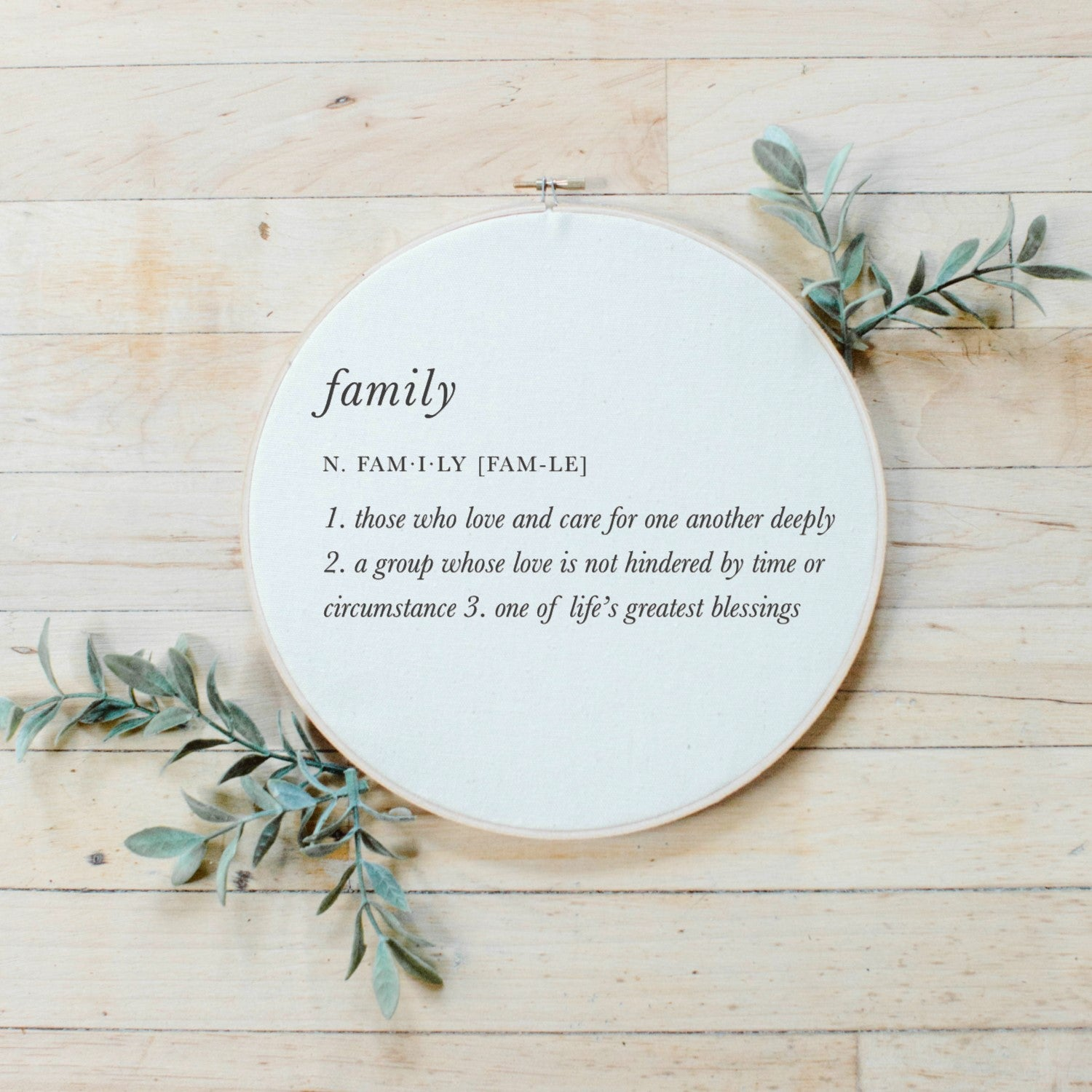 Family Definition Faux Embroidery Hoop