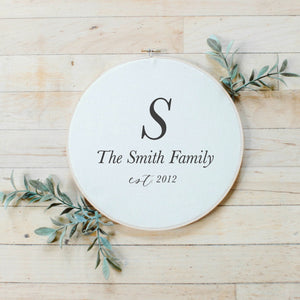 Personalized Family Initial + Last Name Faux Embroidery Hoop