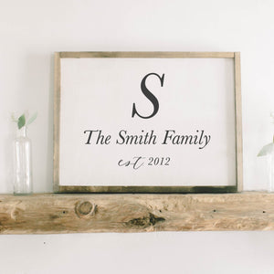 Personalized Family Name Rectangle Framed Wood Sign