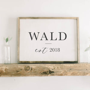 Family Name Framed Wood Sign