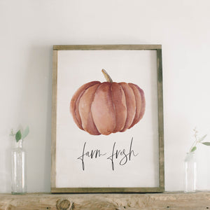 Farm Fresh Pumpkins Framed Wood Sign