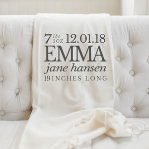 Personalized Birth Stats Throw Blanket