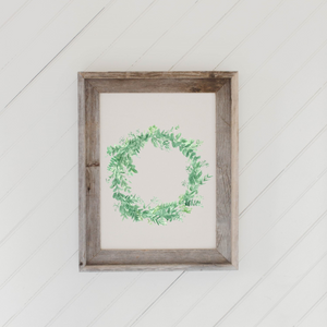 Floral Wreath Watercolor Barn Wood Framed Print