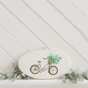 Floral Bike Watercolor Faux Embroidery Hoop