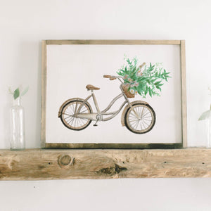 Floral Bike Watercolor Framed Wood Sign