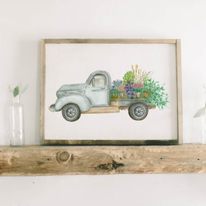 Floral Truck Watercolor Framed Wood Sign