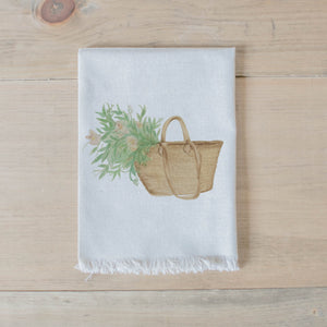 Market Basket Flowers Watercolor Napkin