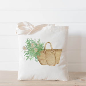 Market Basket Flowers Watercolor Tote Bag
