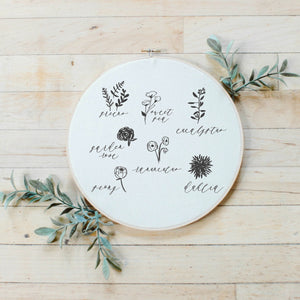 Flower Types Faux Embroidery Hoop