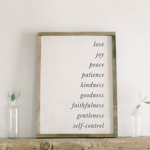 Fruits of the Spirit Rectangle Framed Wood Sign