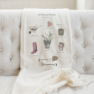 Garden Essentials Watercolor Throw Blanket