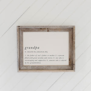 Grandpa Definition Barn Wood Framed Print
