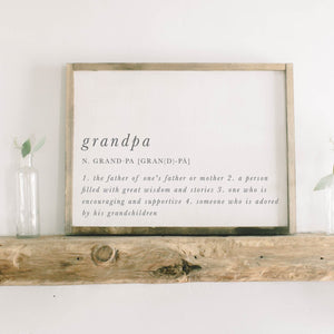 Grandpa Definition Framed Wood Sign