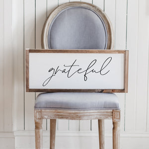 Grateful Lumbar Wood Sign