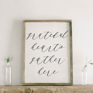 Grateful Hearts Gather Here Framed Wood Sign