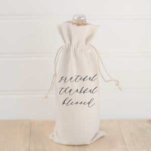 Grateful Thankful Blessed Wine Bag
