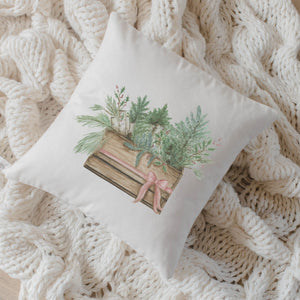 Greens in Crate Watercolor Pillow