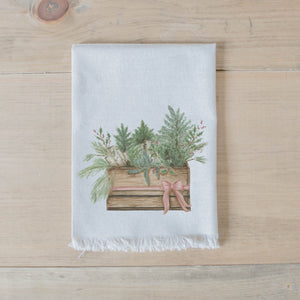 Greens in Crate Watercolor Napkin