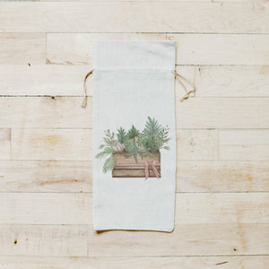 Greens in Crate Watercolor Wine Bag