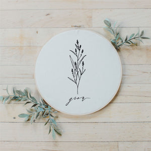 Grow Wildflower Faux Embroidery Hoop