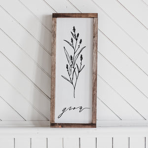 Grow Wildflower Wood Sign