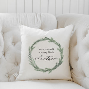 Have Yourself a Merry Little Christmas Wreath Watercolor Pillow
