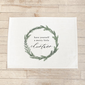 Have Yourself A Merry Little Christmas Wreath Watercolor Placemat