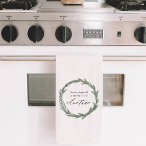 Have Yourself A Merry Little Christmas Watercolor Tea Towel
