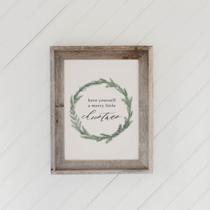 Have Yourself A Merry Little Christmas Wreath Barn Wood Framed Print