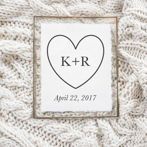 Personalized Initials With Heart Print