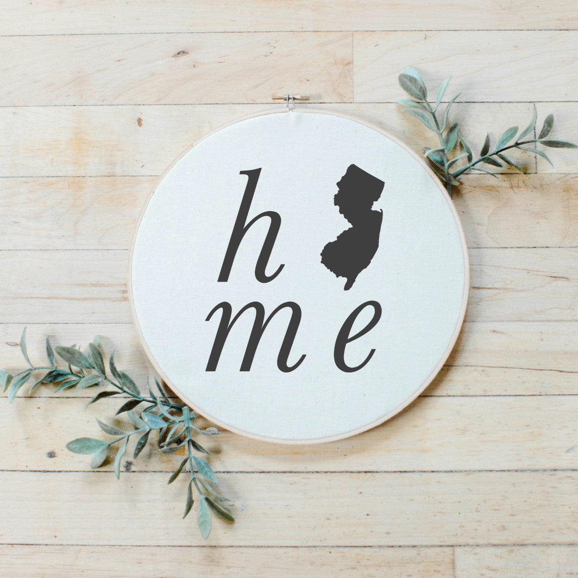 Personalized Home State Faux Embroidery Hoop