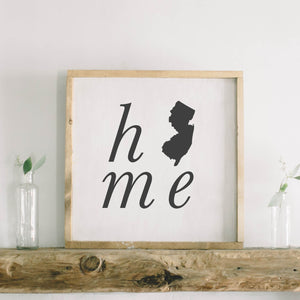 Personalized Home State Square Framed Wood Sign