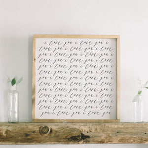 I Love You Framed Wood Sign