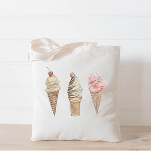 Ice Cream Watercolor Tote Bag