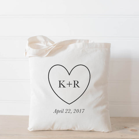 Personalized Heart, Initials and Date Tote Bag