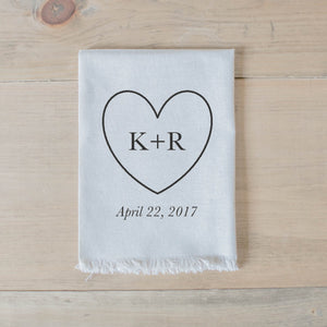 Handmade 100% linen personalized heart initials and date napkin