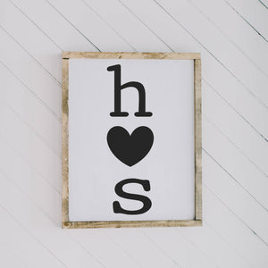 Personalized Two Initials with Heart Rectangle Framed Wood Sign