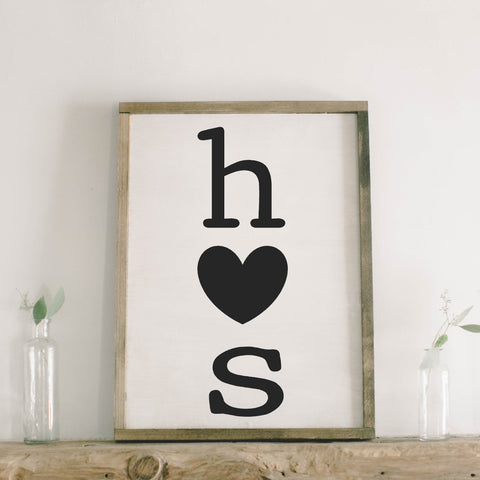 Two Initials with Heart Rectangle Framed Wood Sign
