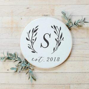 Personalized Initial With Laurels Faux Embroidery Hoop